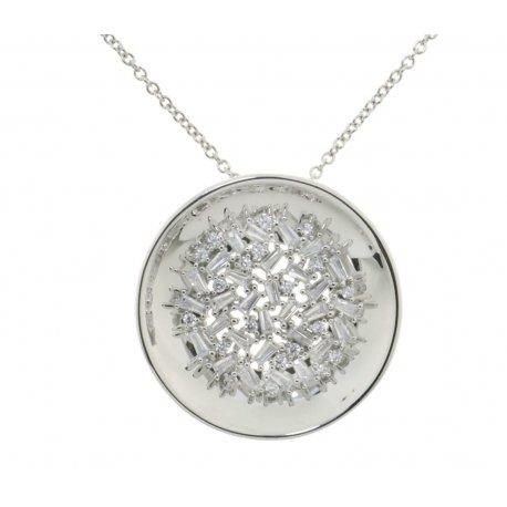 Колье женское серебряное 925* родий цирконий Арт 12 7 4029-40