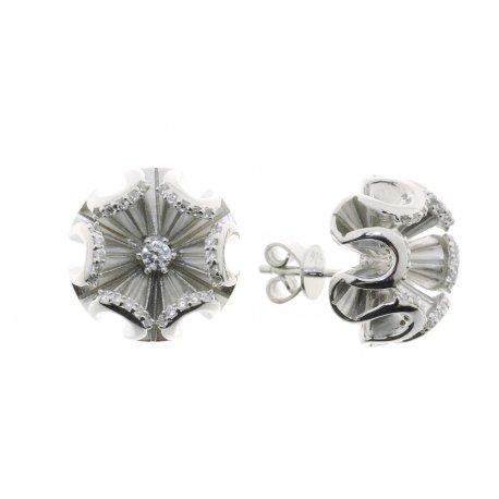 Серьги женские серебряные 925* родий цирконий Арт 11 7 3689б