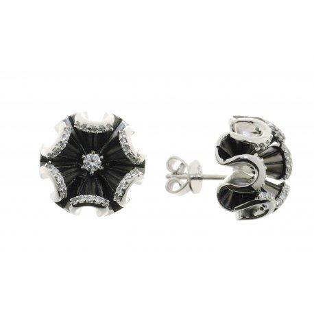 Сережки жіночі срібні 925* чорніння цирконій Арт 11 7 3689ч