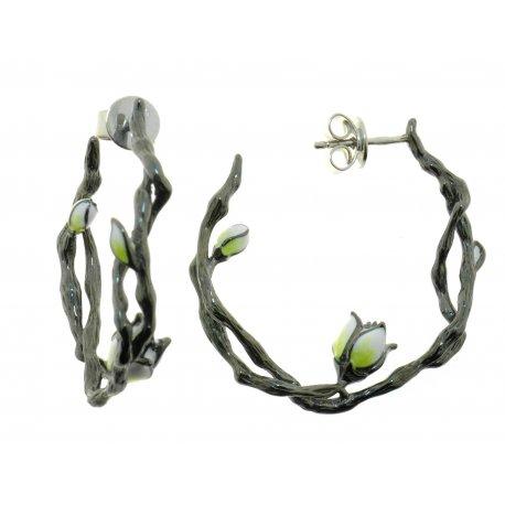 Серьги женские серебряные 925* чернение эмаль Арт 11 8 3545