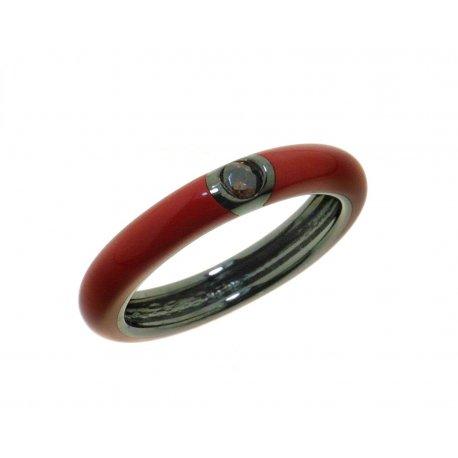 Кольцо женское серебряное 925* чернение цветная эмаль цирконий Арт 15 8 0105кр