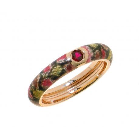 Кольцо женское серебряное 925* позолота цветная эмаль цирконий Арт 55 8 0927к