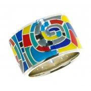 Кольцо женское серебряное 925* родий цветная эмаль Арт 15 8 5414