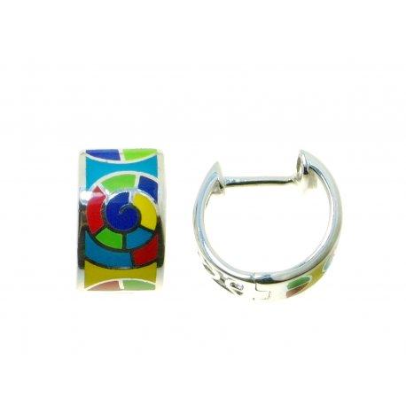 Серьги женские серебряные 925* родий цветная эмаль Арт 11 8 5414