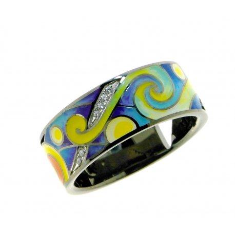 Кольцо женское серебряное 925* чернение цветная эмаль цирконий Арт 15 8 9880