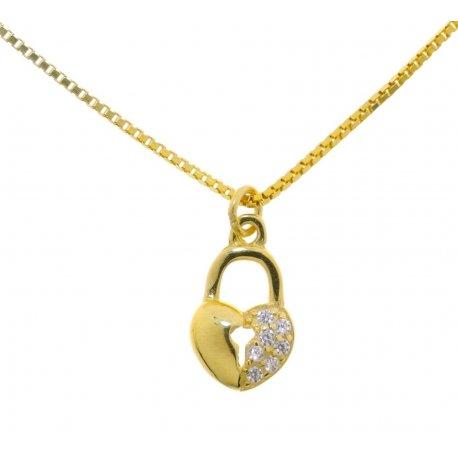 Колье женское серебряное 925* позолота цирконий Арт 525 1 981-42+3