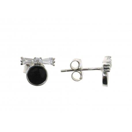 Серьги женские серебряные 925* родий цветная эмаль цирконий Арт 115 1 763