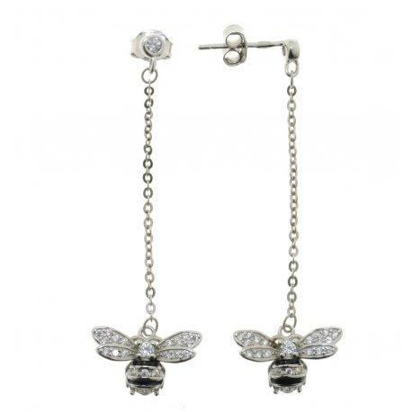 Серьги женские серебряные 925* родий цветная эмаль цирконий Арт 115 1 011