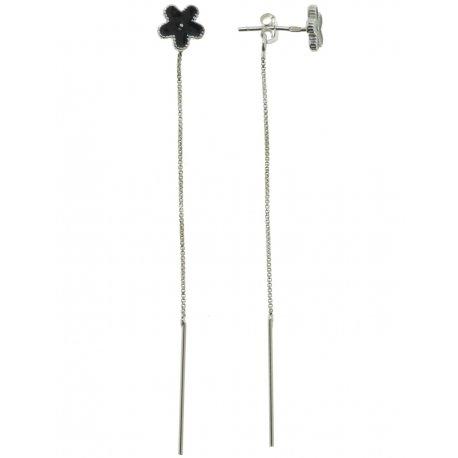 Серьги женские серебряные 925* родий цветная эмаль Арт 115 1 004