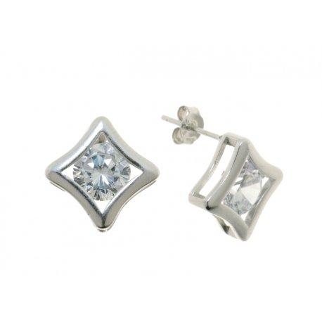 Серьги женские серебряные 925* родий цирконий Арт 115 1 127