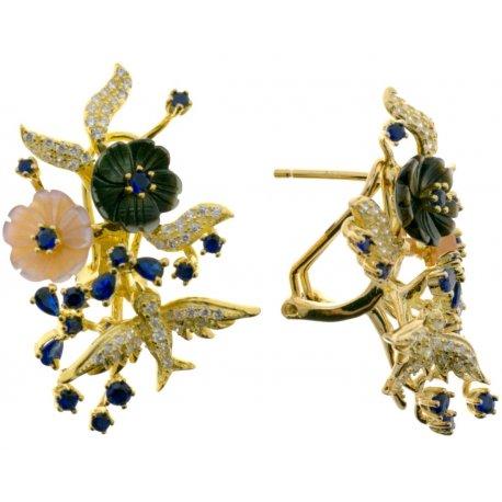 Серьги женские серебряные 925* позолота перламутр циркон Арт 51 5 7164с