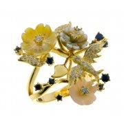 Кольцо женское серебряное 925* позолота перламутр циркон Арт 55 5 7164с