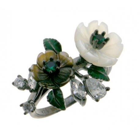 Кольцо женское серебряное 925* чернение перламутр циркон Арт 15 5 9682