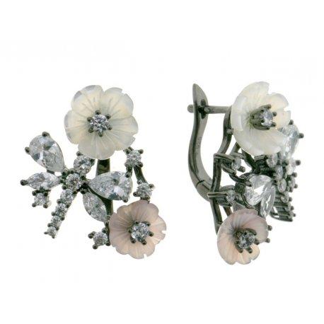 Сережки жіночі срібні 925* чорніння перламутр циркон Арт 11 5 2790ч