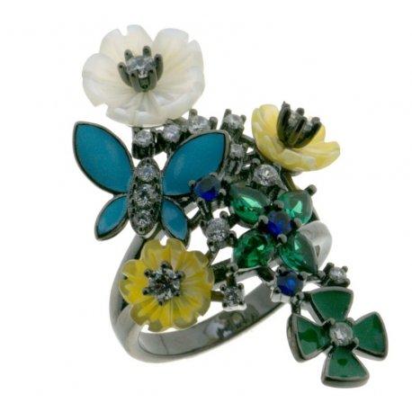 Кольцо женское серебряное 925* чернение перламутр эмаль Арт 15 5 2820