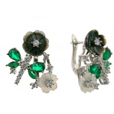 Серьги женские серебряные 925* родий перламутр эмаль цирконий Арт 11 5 2790б