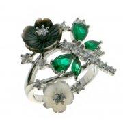 Кольцо женское серебряное 925* родий перламутр эмаль цирконий Арт 15 5 2790б