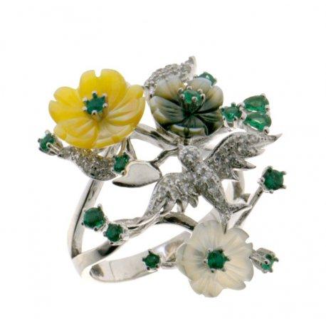 Кольцо женское серебряное 925* родий перламутр Арт 15 5 7164з