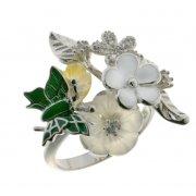 Кольцо женское серебряное 925* родий цветная эмаль перламутр Арт 15 5 7153з