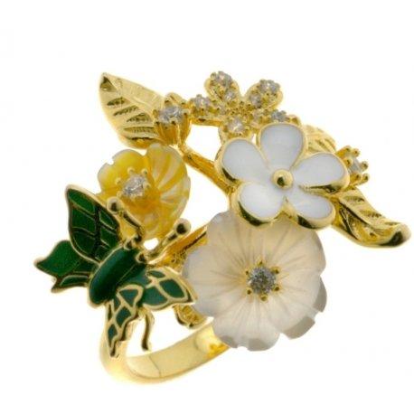 Кольцо женское серебряное 925* позолота цветная эмаль перламутр Арт 55 5 7153з
