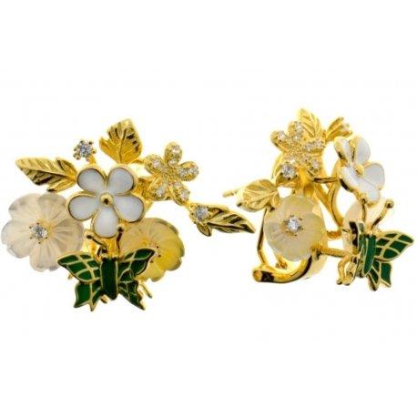 Серьги женские серебряные 925* позолота цветная эмаль перламутр Арт 51 5 7153з