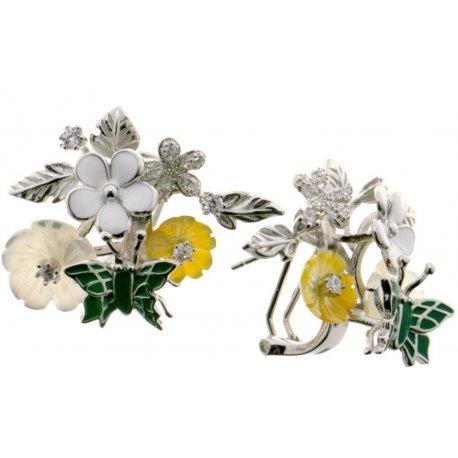 Серьги женские серебряные 925* родий цветная эмаль перламутр Арт 11 5 7153з