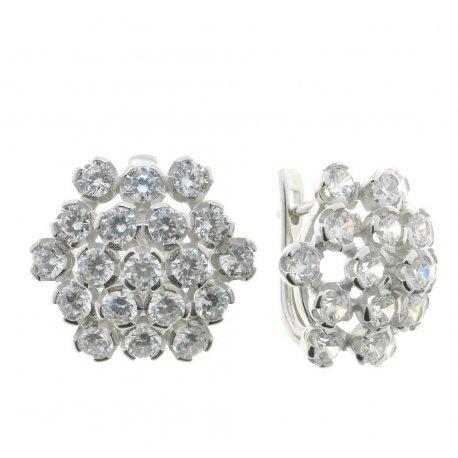 Серьги женские серебряные 925* родий цирконий Арт 11 3 7616