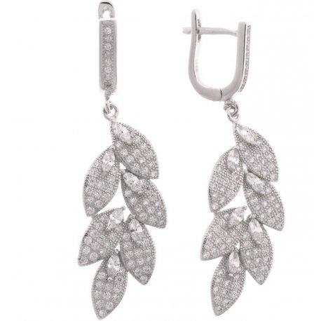 Серьги женские серебряные 925* родий цирконий Арт 11 3 7650