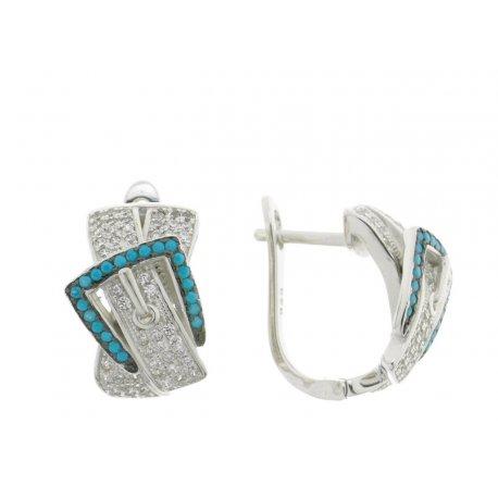 Серьги женские серебряные 925* родий цирконий Арт 11 3 9216