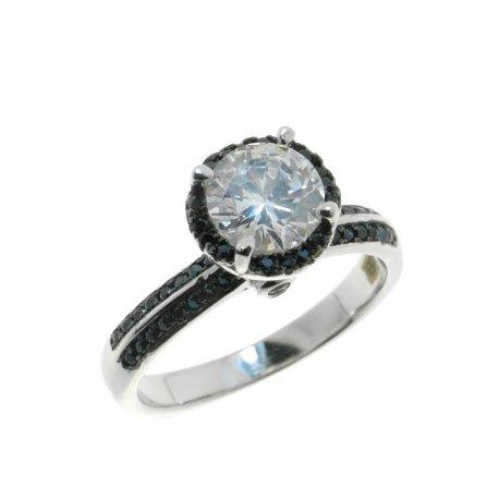 Кольцо женское серебряное 925* родий цирконий Арт 15 3 0911ч
