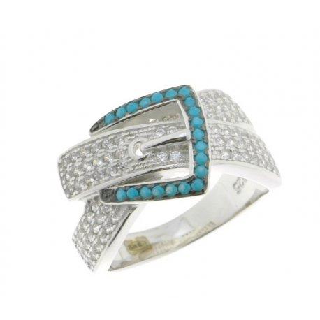 Кольцо женское серебряное 925* родий цирконий Арт 15 3 9216