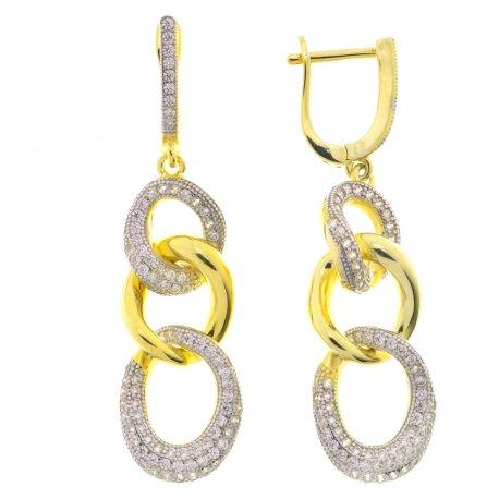 Серьги женские серебряные 925* позолота цирконий Арт 51 3 8462
