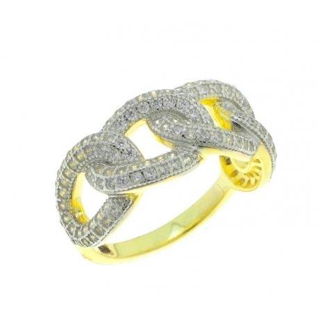 Кольцо женское серебряное 925* позолота цирконий Арт 55 3 8839