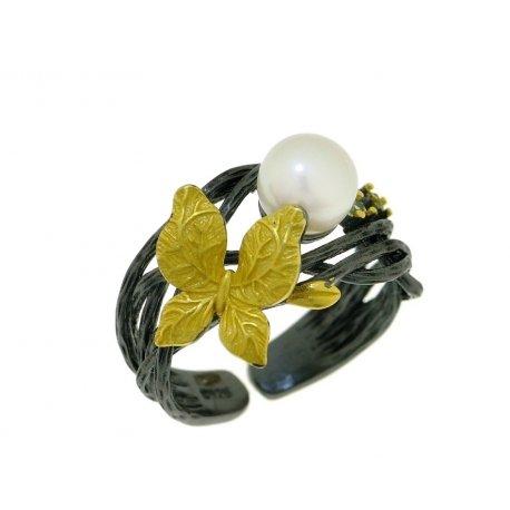 Кольцо женское серебряное 925* чернение позолота культивированный жемчуг 15 12 1407
