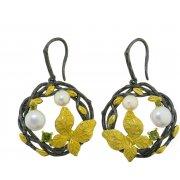 Серьги женские серебряные 925* чернение позолота культивированный жемчуг 11 12 1407