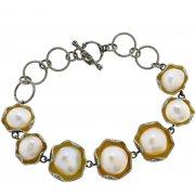 Браслет женский серебряный 925* чернение жемчуг Арт 14 12 1404-18
