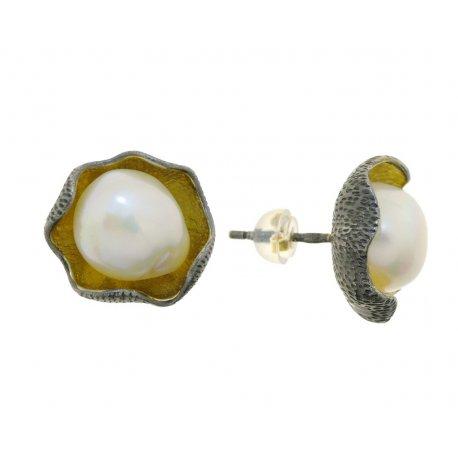Серьги женские серебряные 925* чернение позолота культивированный жемчуг 11 12 1404