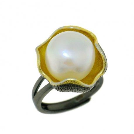 Кольцо женское серебряное 925* чернение позолота культивированный жемчуг 15 12 1404