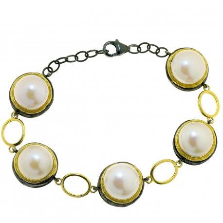Браслет женский серебряный 925* чернение жемчуг Арт 14 12 1402-18+2