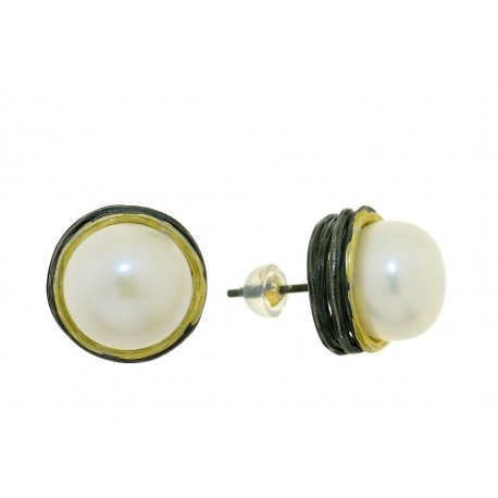 Сережки жіночі срібні 925* чорніння позолота культивовані перли 11 12 1402
