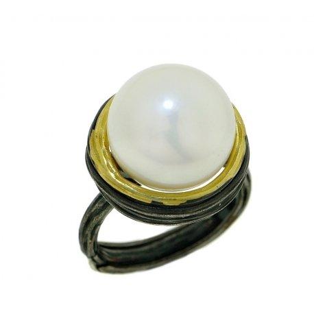 Кольцо женское серебряное 925* чернение позолота культивированный жемчуг 15 12 1402
