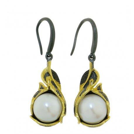 Серьги женские серебряные 925* чернение позолота культивированный жемчуг 11 12 1403