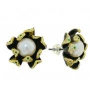 Серьги женские серебряные 925* чернение позолота культивированный жемчуг 11 12 1406