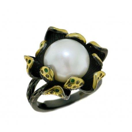 Кольцо женское серебряное 925* чернение позолота культивированный жемчуг 15 12 1406