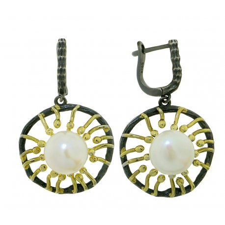 Сережки жіночі срібні 925* чорніння позолота культивовані перли 11 12 1405