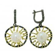 Серьги женские серебряные 925* чернение позолота культивированный жемчуг 11 12 1405