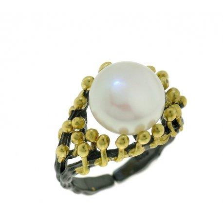 Кольцо женское серебряное 925* чернение позолота культивированный жемчуг 15 12 1405