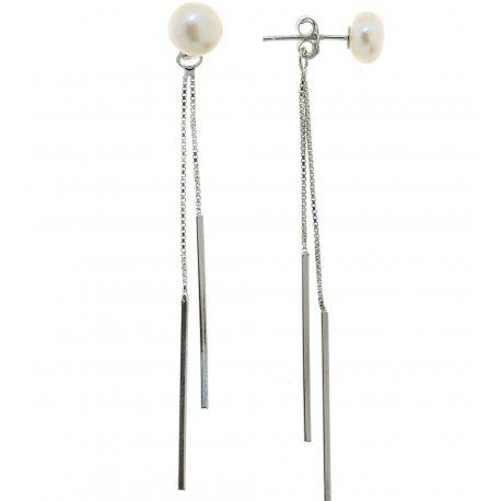 Сережки жіночі срібні 925* родій культивовані перли 11 12 1109