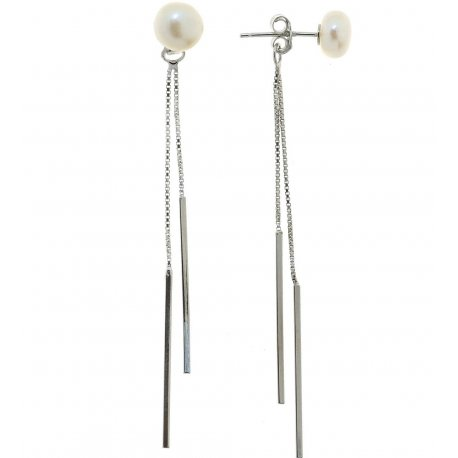 Серьги женские серебряные 925* родий культивированный жемчуг 11 12 1109
