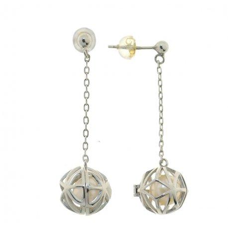 Серьги женские серебряные 925* родий культивированный жемчуг 11 12 1209